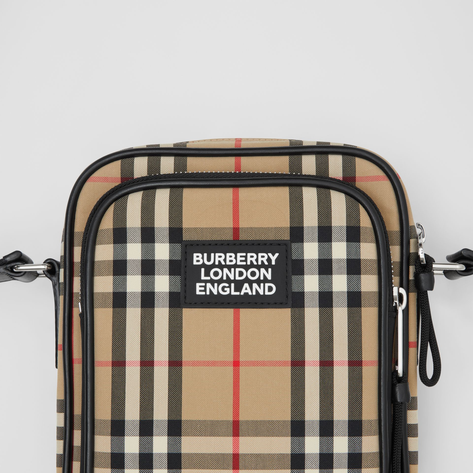 Vintage Check and Leather Crossbody Bag in Archive Beige - Men | Burberry - gallery image 1