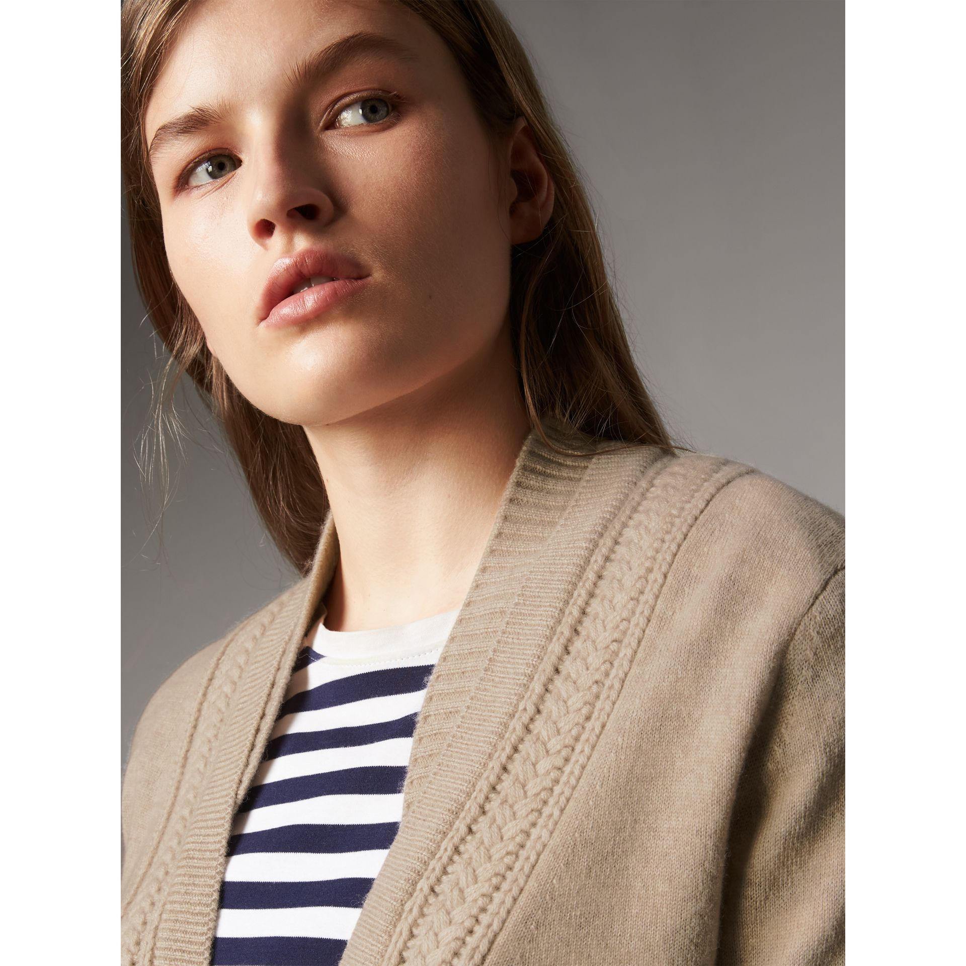 Cable Knit Detail Cashmere Cardigan in Taupe Melange - Women | Burberry - gallery image 2