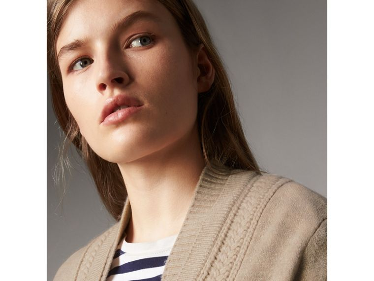 Cable Knit Detail Cashmere Cardigan in Taupe Melange - Women | Burberry - cell image 1