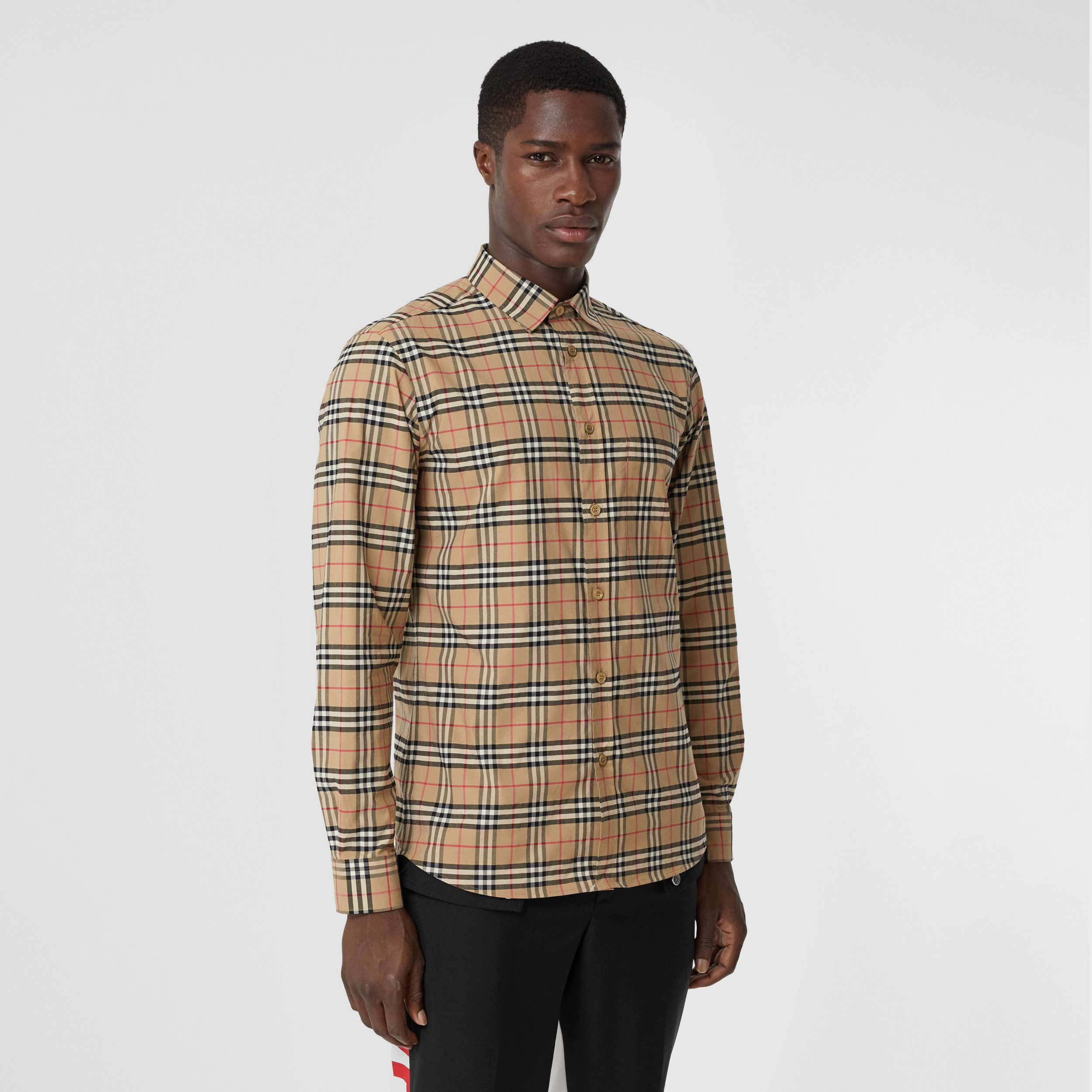 Small Scale Check Stretch Cotton Shirt in Archive Beige - Men | Burberry - 1