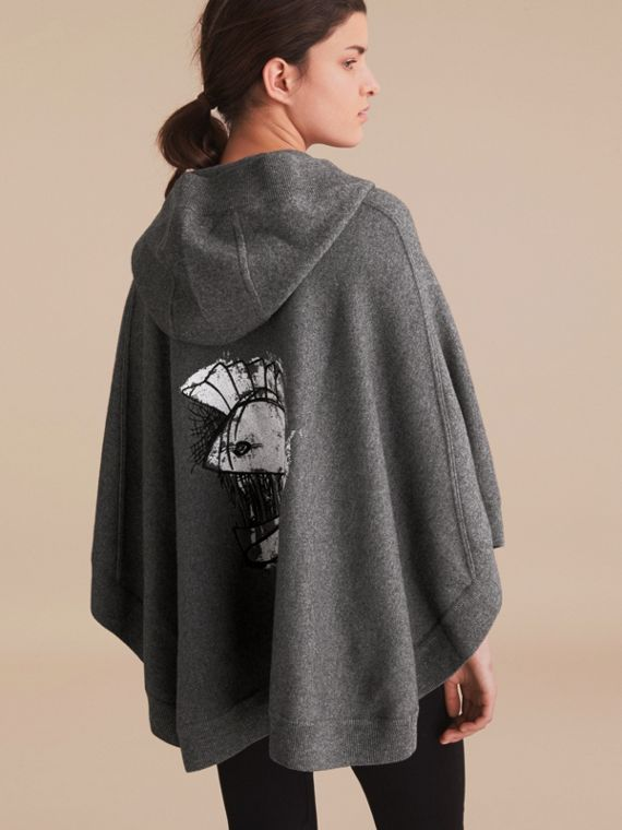 Pallas Helmet Motif Wool Cashmere Hooded Poncho in Mid Grey
