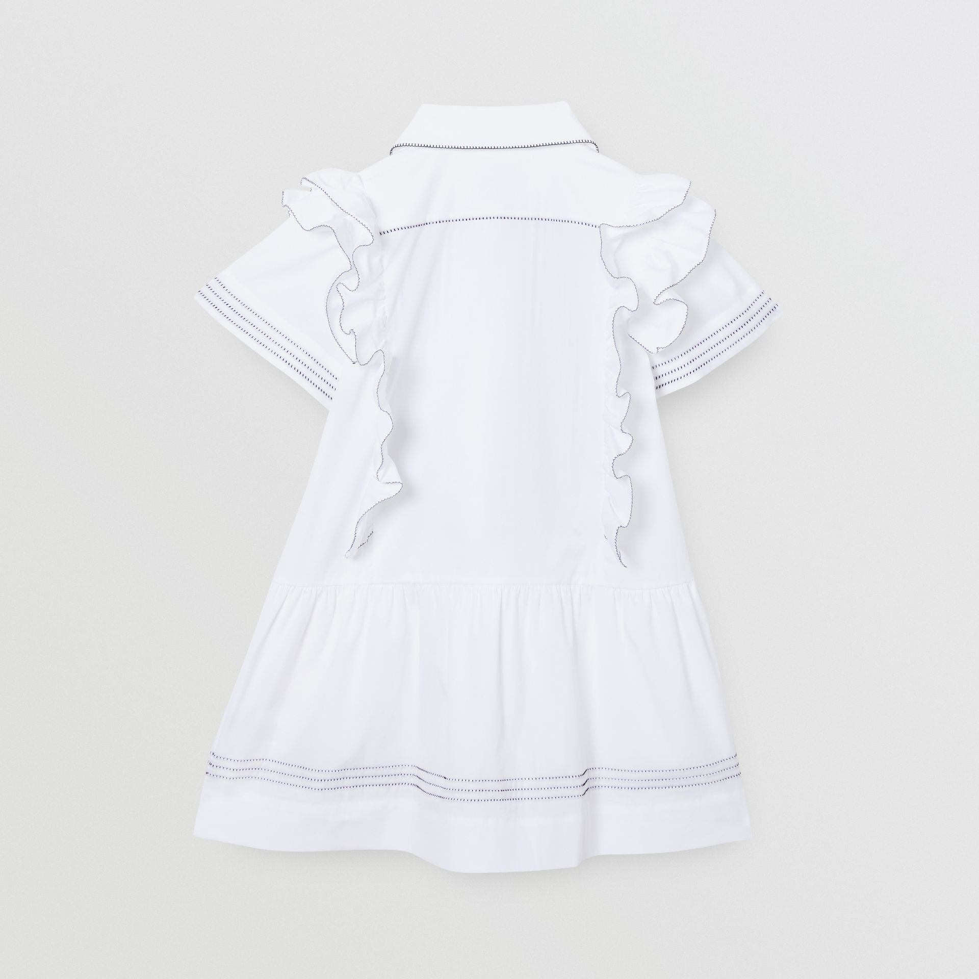 Ruffle Detail Stretch Cotton Poplin Dress in White | Burberry - gallery image 3