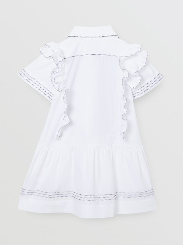 Ruffle Detail Stretch Cotton Poplin Dress in White | Burberry - cell image 3