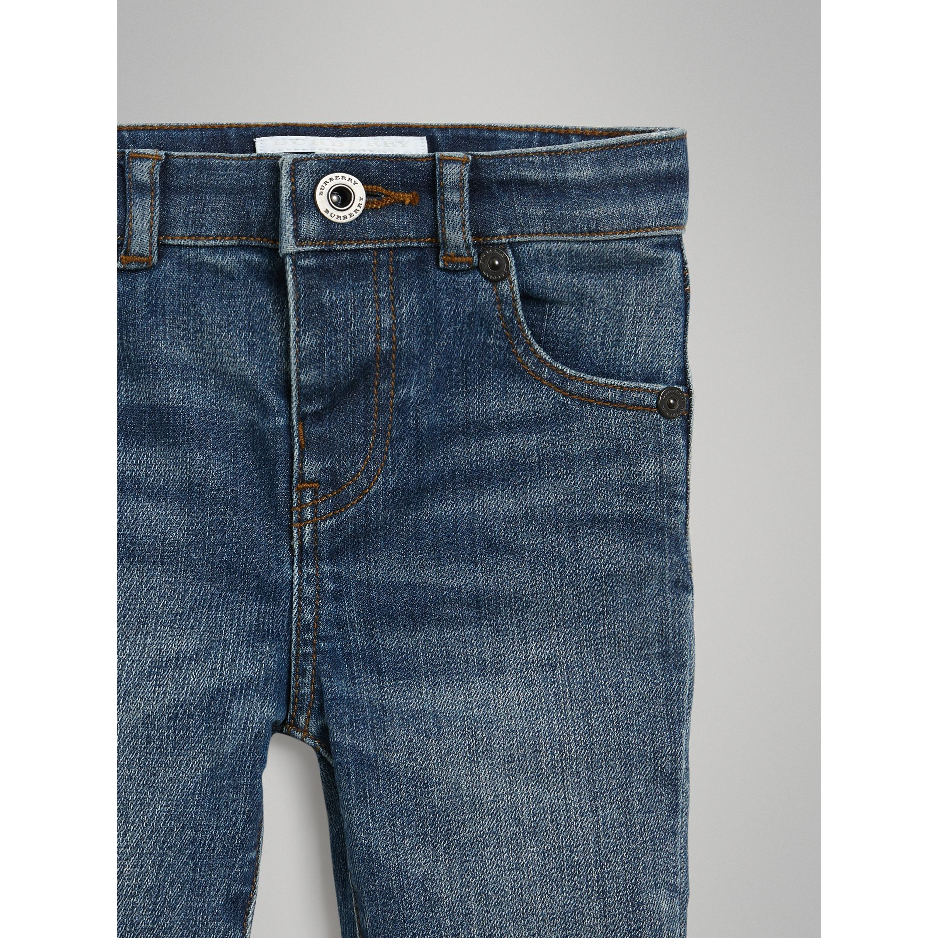 Skinny Fit Stretch Denim Jeans in Mid Indigo - Children | Burberry United Kingdom - gallery image 4