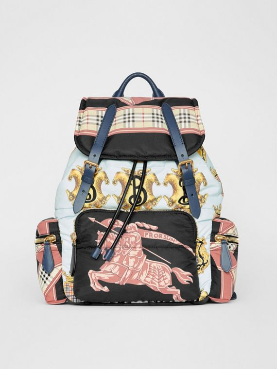 The Large Rucksack in Archive Scarf Print in Black