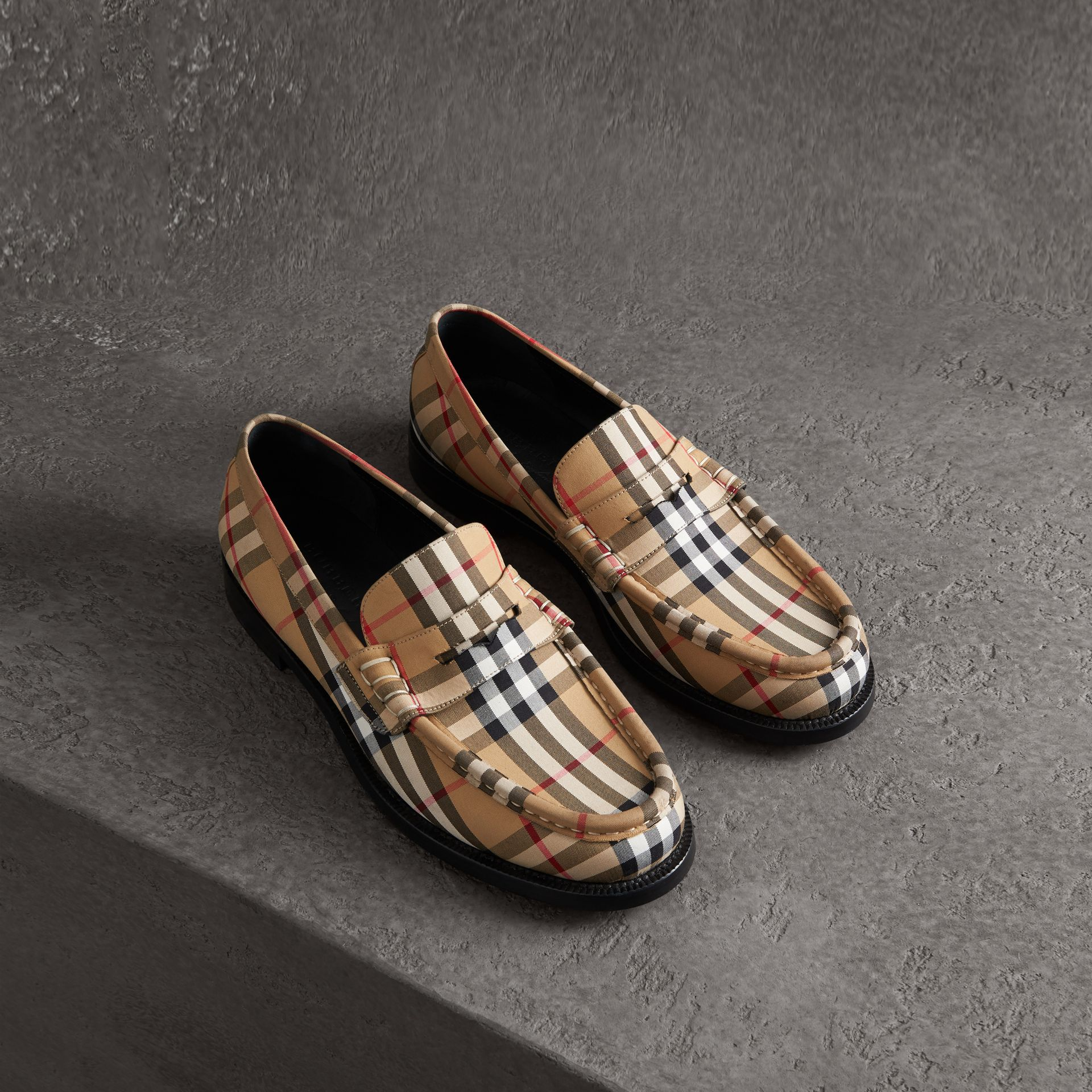 Vintage Check Cotton Loafers in Antique Yellow - Men | Burberry - gallery image 0