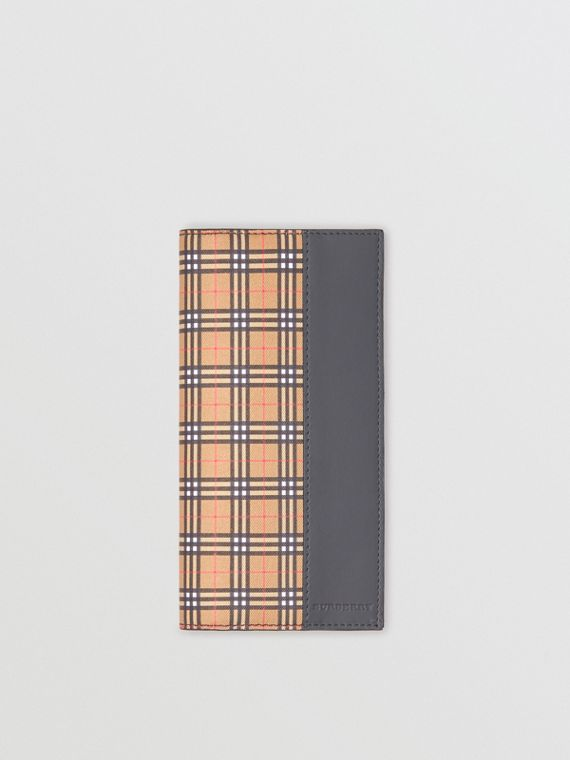Small Scale Check and Leather Continental Wallet in Antique Yellow/dark Grey