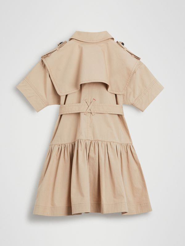 Stretch Cotton Trench Dress in Honey | Burberry - cell image 3