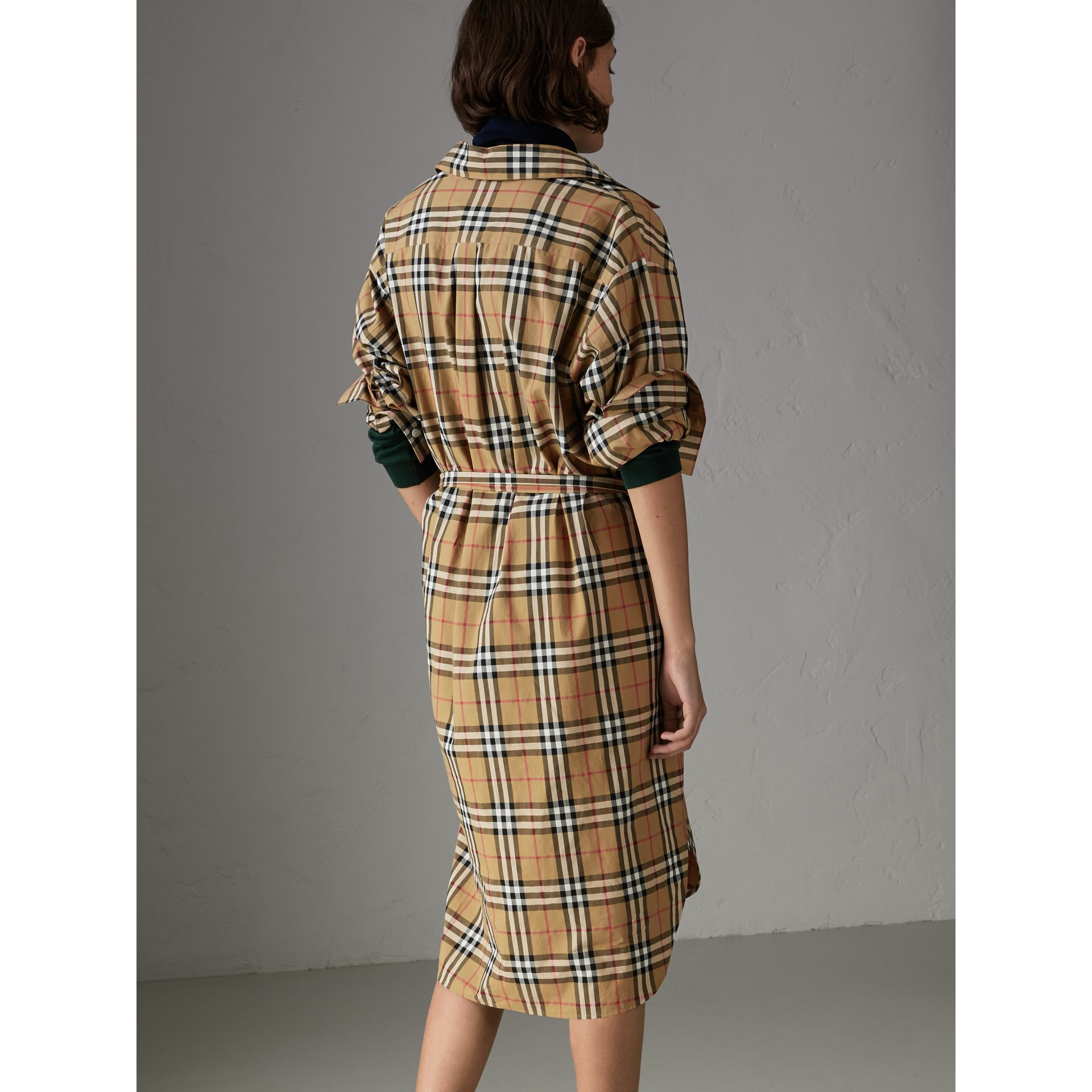 Vintage Check Cotton Tie-waist Shirt Dress in Antique Yellow - Women | Burberry - gallery image 2