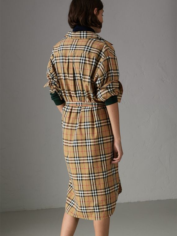 Tie-waist Vintage Check Cotton Shirt Dress in Antique Yellow - Women | Burberry Australia - cell image 2