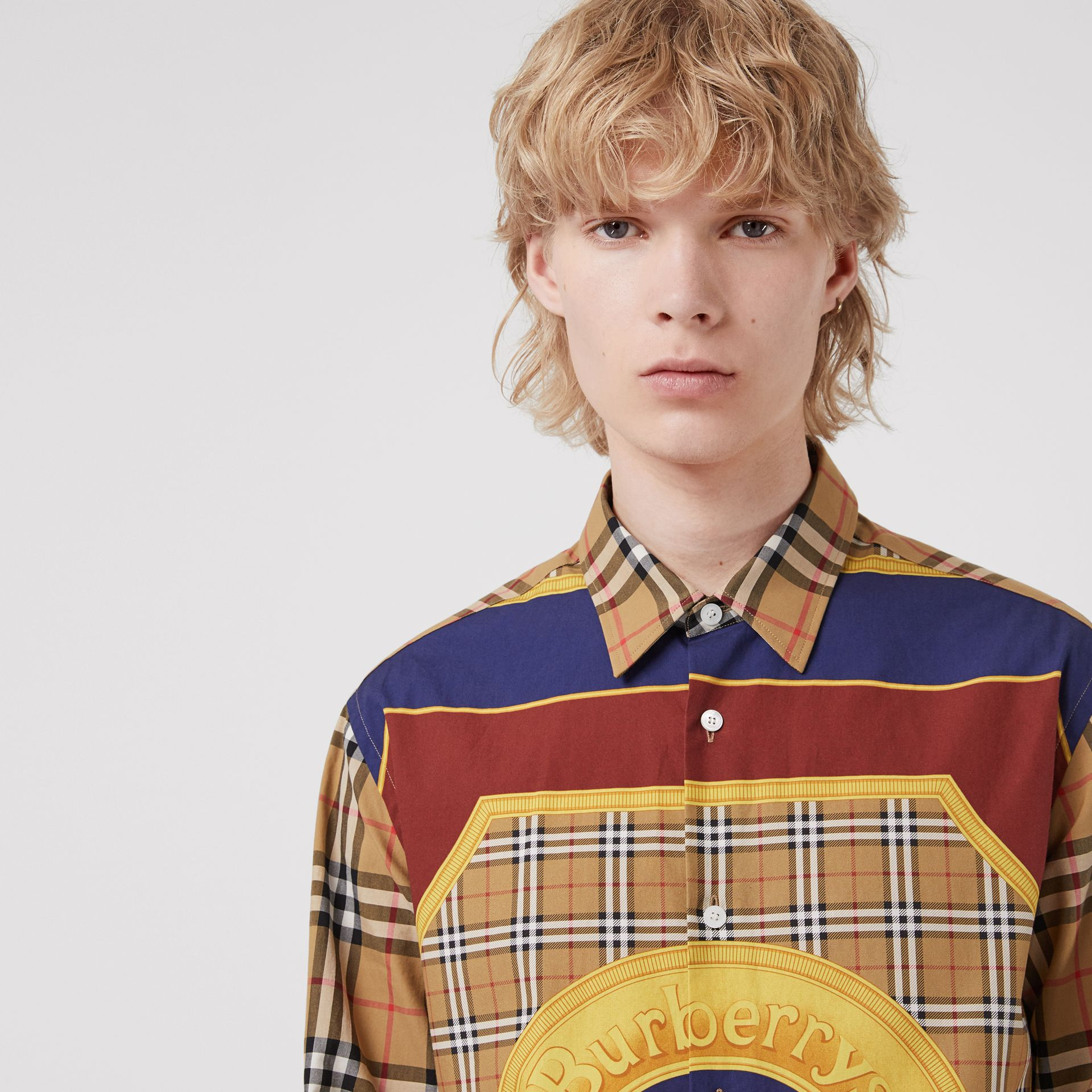 Vintage Check and Archive Scarf Print Shirt in Antique Yellow - Men | Burberry Australia - gallery image 1