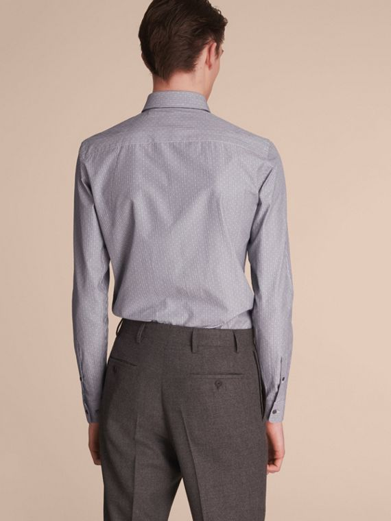 Slim Fit Striped Cross Dobby Cotton Shirt in Antique Navy - Men | Burberry Australia - cell image 2