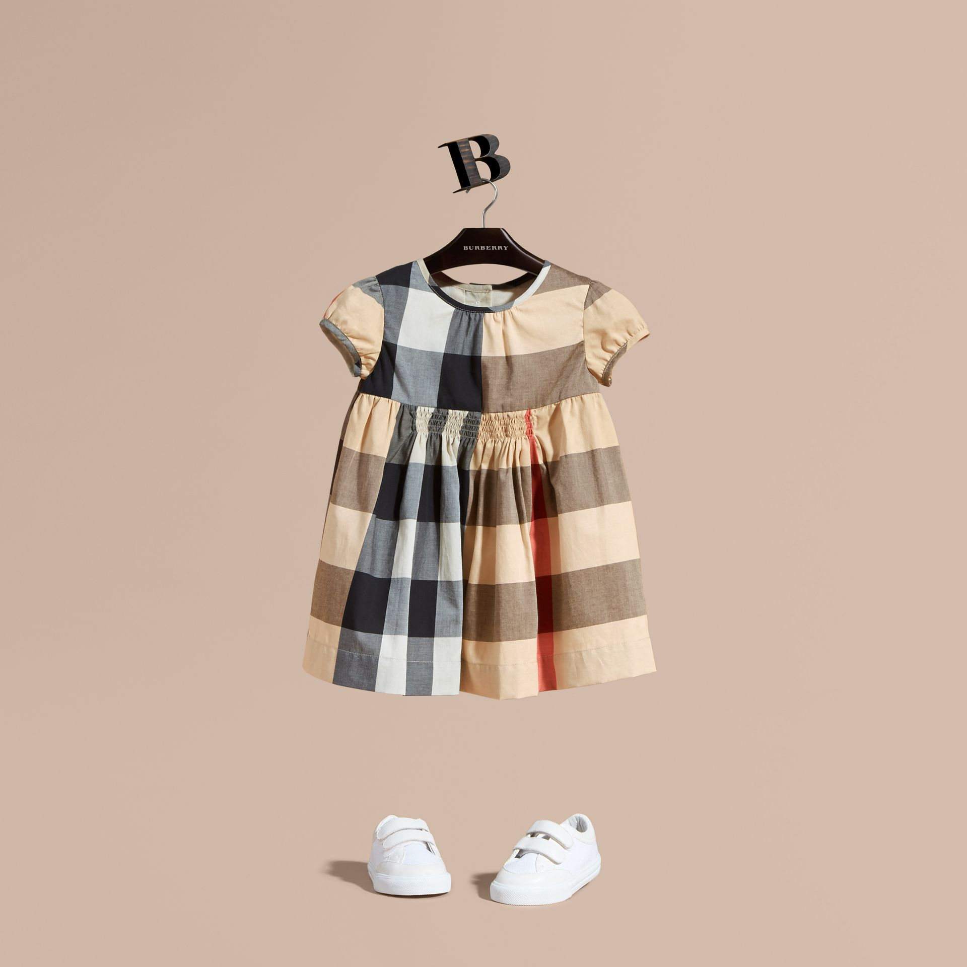 Cap-sleeved Check Cotton Voile Dress New Classic - gallery image 1