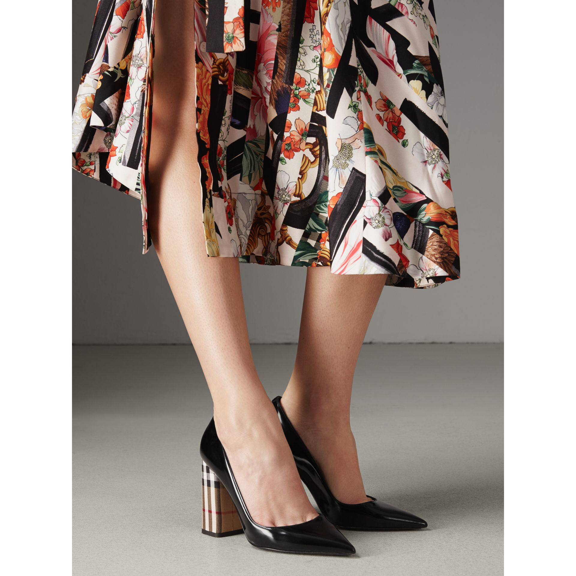 Patent Leather and Vintage Check Block-heel Pumps in Black - Women | Burberry - gallery image 2