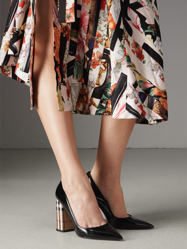 Patent Leather and Vintage Check Block-heel Pumps in Black - Women | Burberry - cell image 2
