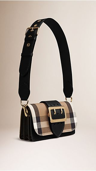 Sac The Buckle en coton à motif House check et cuir