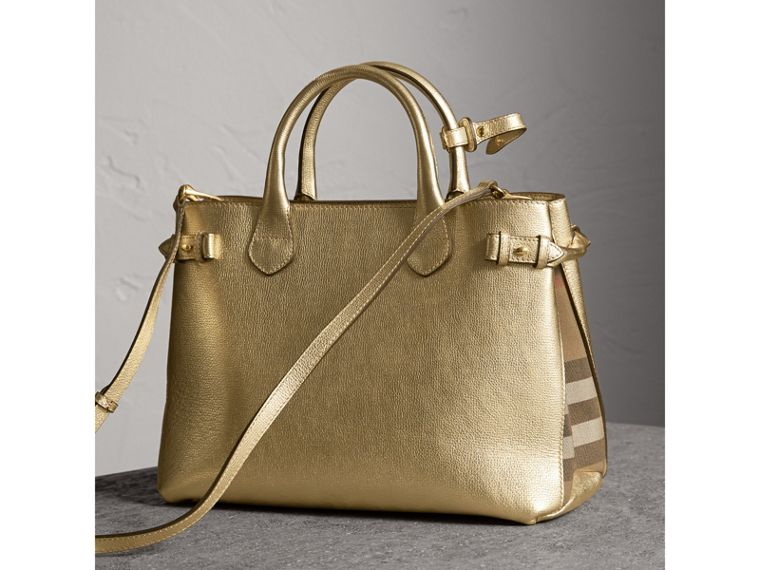 Sac The Banner moyen en cuir et coton House check (Or) - Femme | Burberry - cell image 4