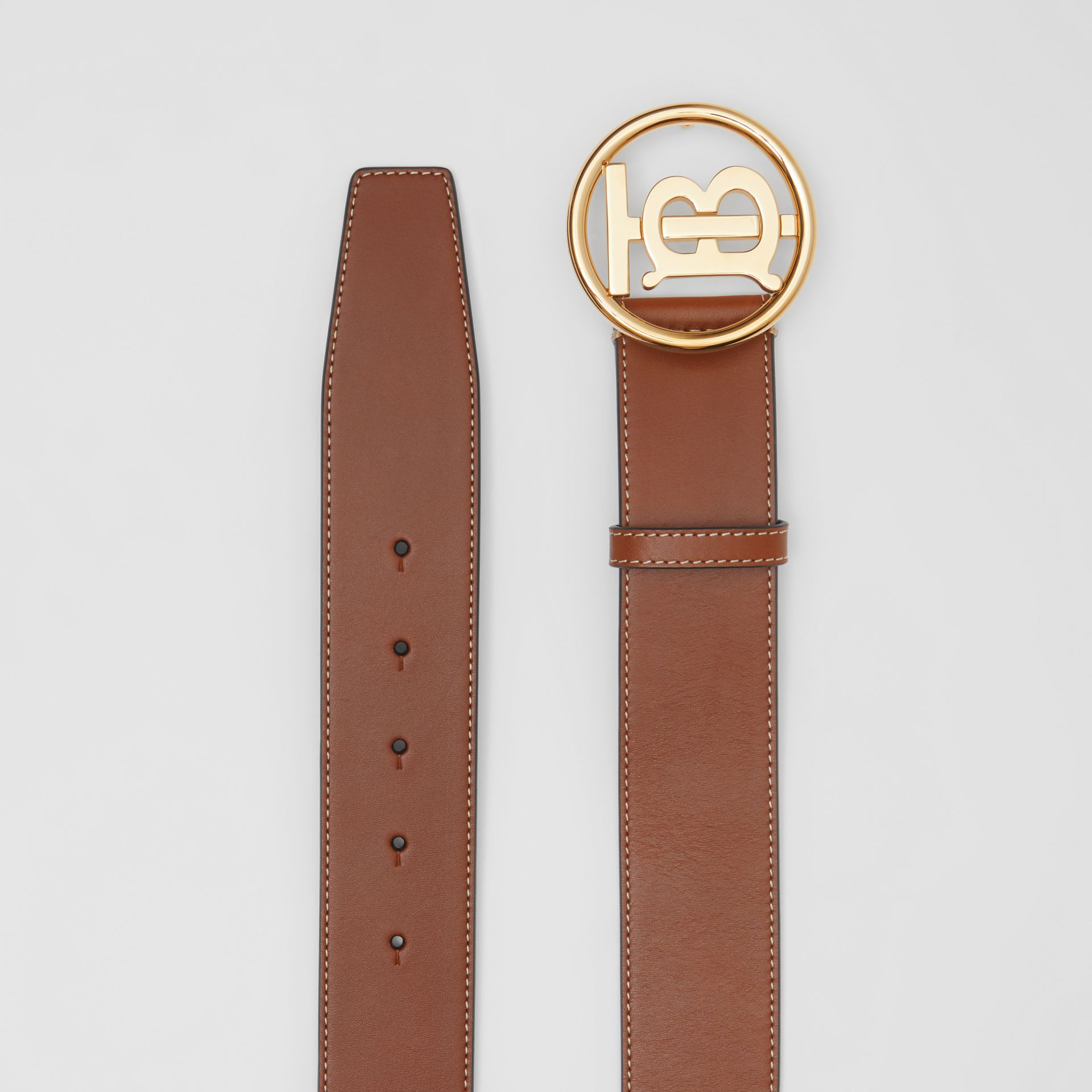 Monogram Motif Topstitched Leather Belt in Tan - Men | Burberry United Kingdom - gallery image 4