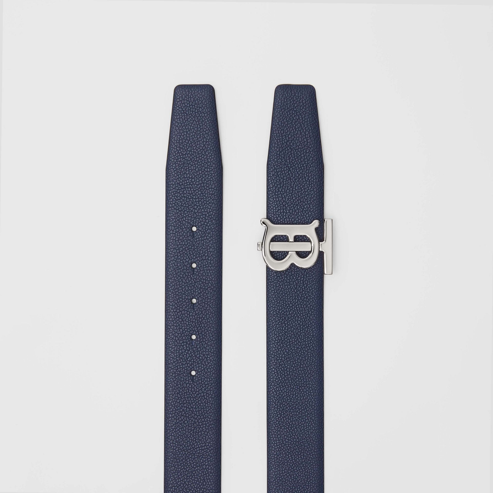 Reversible Monogram Motif Leather Belt in Navy/black - Men | Burberry United Kingdom - gallery image 6