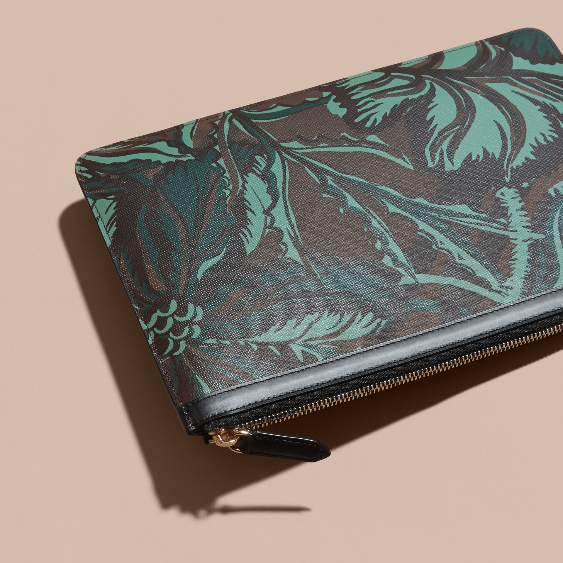 Floral Print London Check Pouch Chocolate - gallery image 4