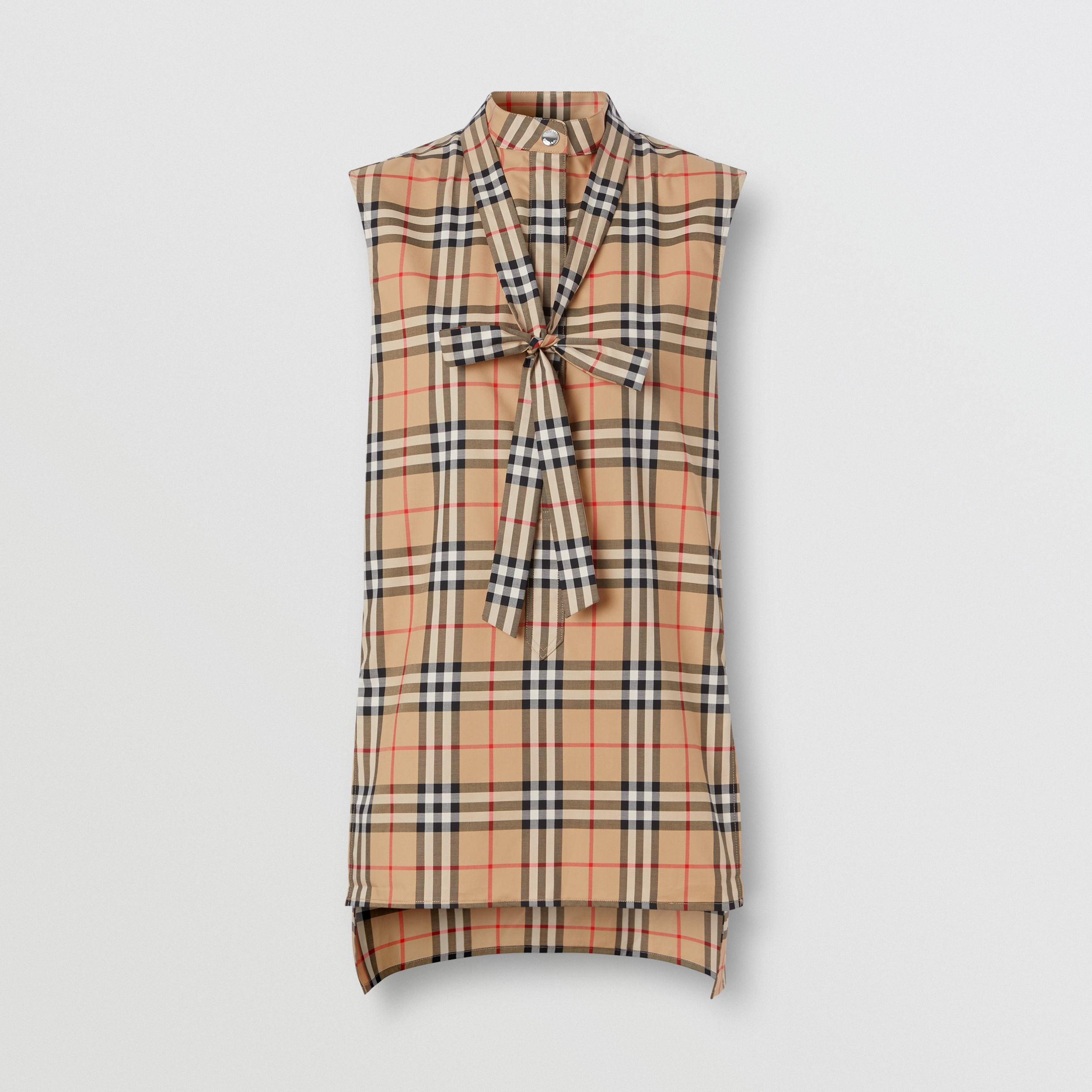 Sleeveless Vintage Check Cotton Tie-neck Shirt in Archive Beige - Women | Burberry - 4