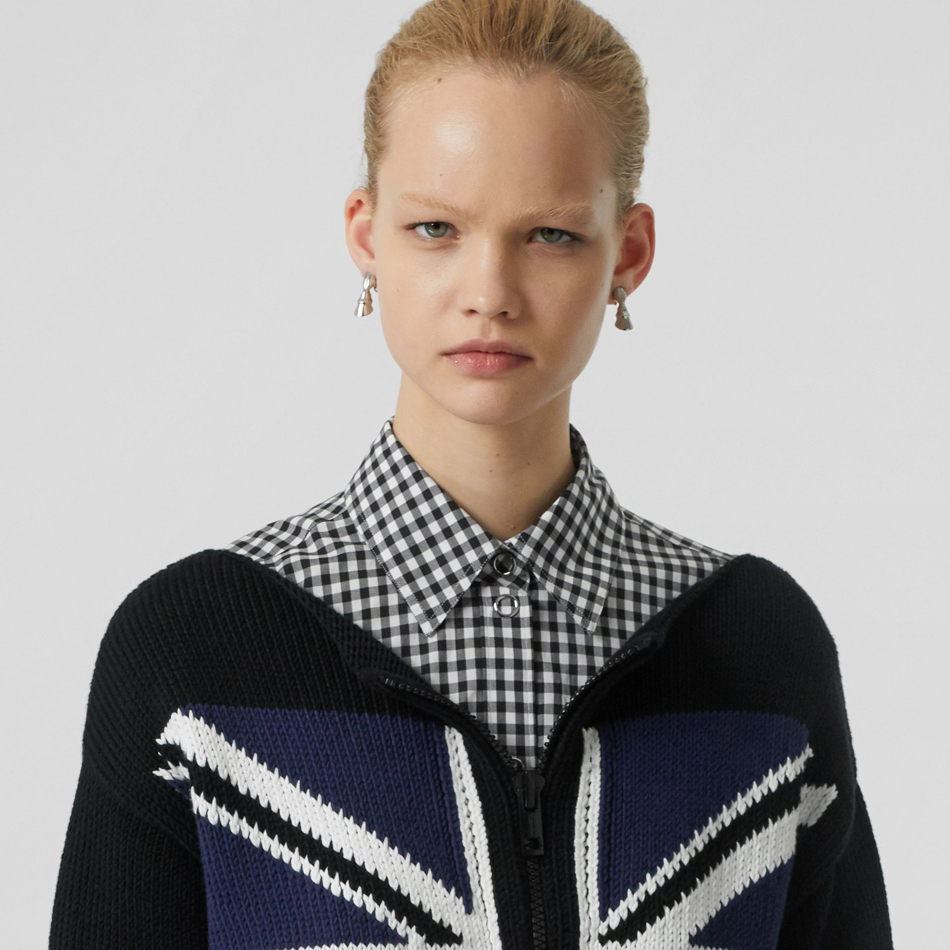 Zip Detail Union Jack Intarsia Cotton Sweater in Black - Women | Burberry - gallery image 1