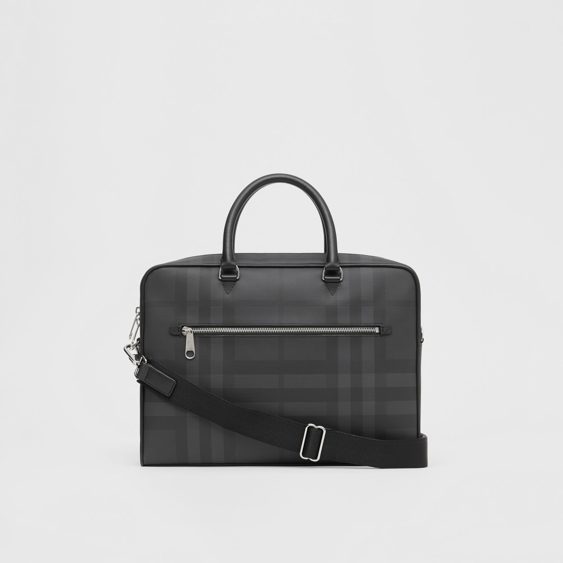London Check and Leather Briefcase in Dark Charcoal - Men | Burberry - gallery image 7