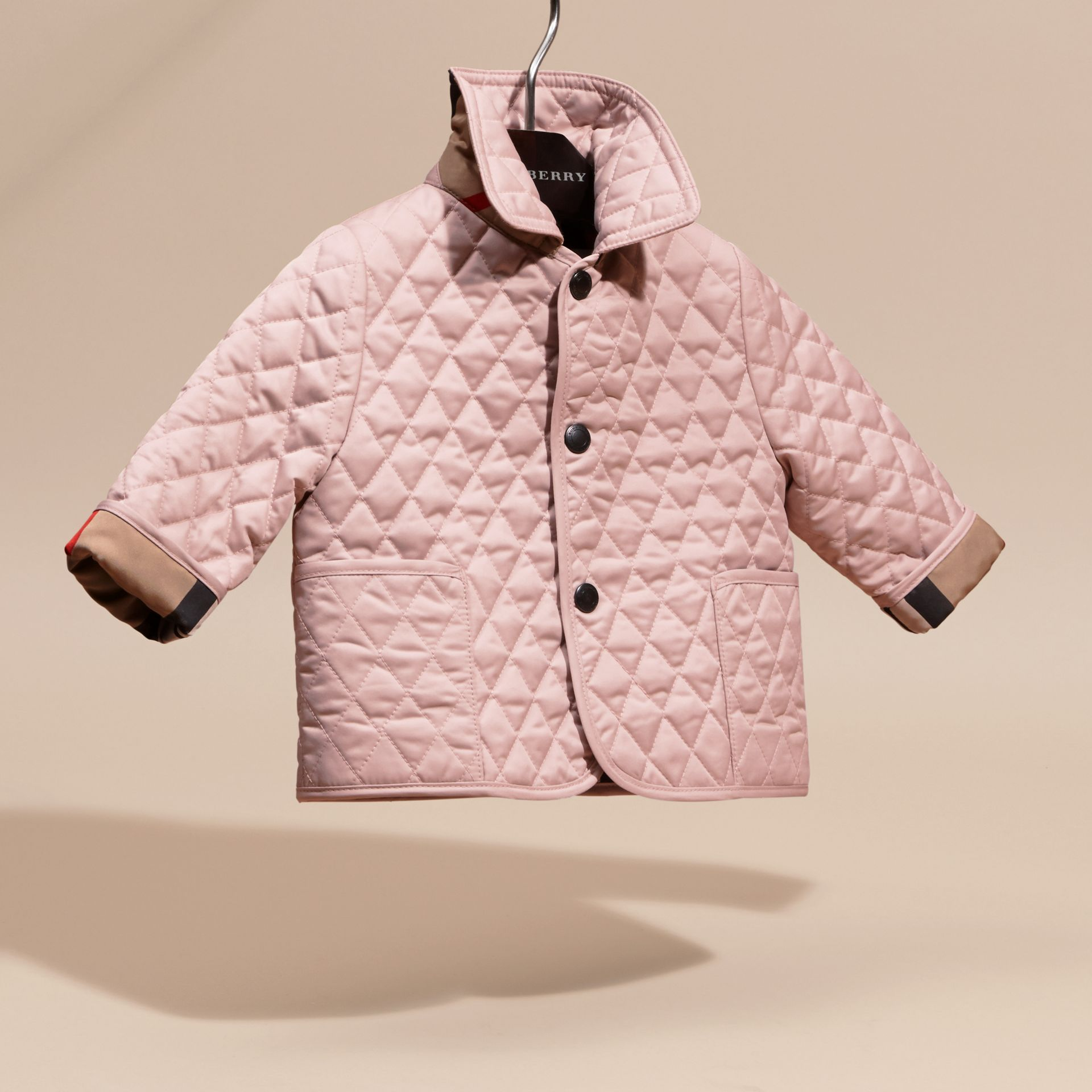 Check Detail Diamond Quilted Jacket in Powder Pink | Burberry - gallery image 3