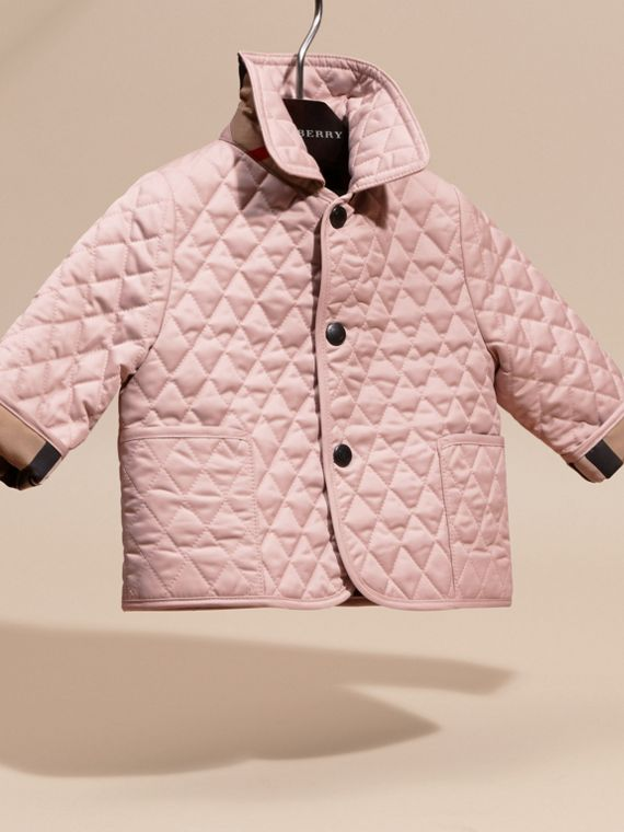 Check Detail Diamond Quilted Jacket in Powder Pink | Burberry - cell image 2