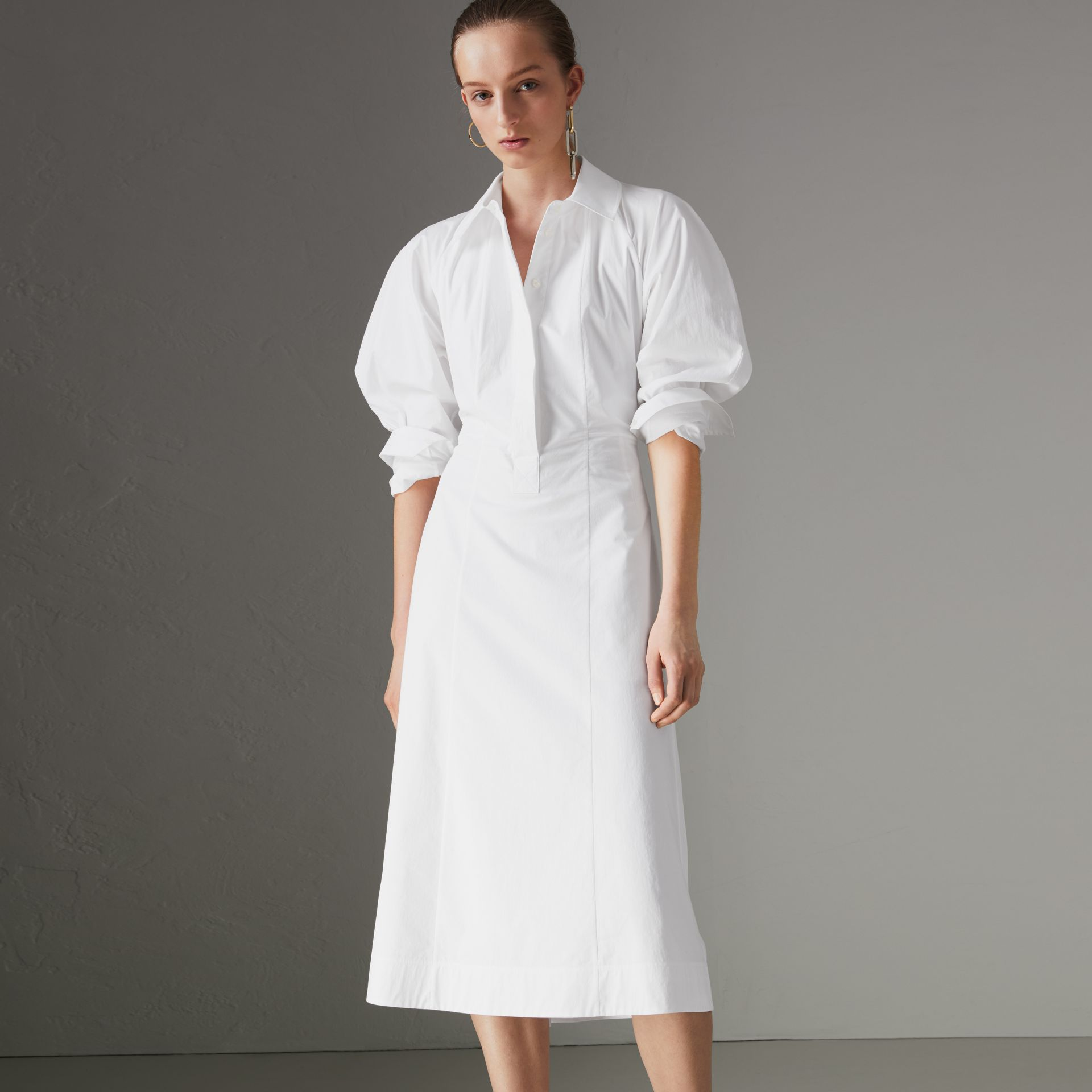 Panelled Stretch Cotton Shirt Dress in White - Women | Burberry - gallery image 0