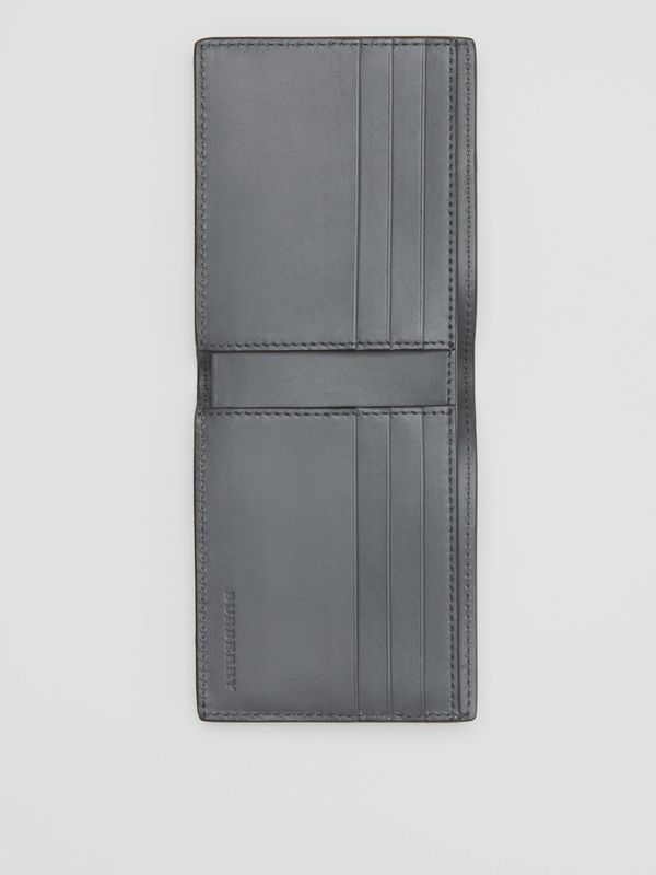 Small Scale Check and Leather Bifold Wallet in Antique Yellow/dark Grey - Men | Burberry - cell image 3