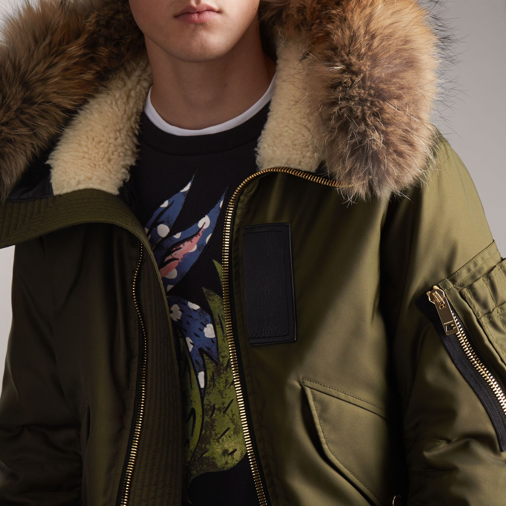 Raccoon Fur and Shearling Hood Duck-down Jacket in Caper Green - Men | Burberry - gallery image 6