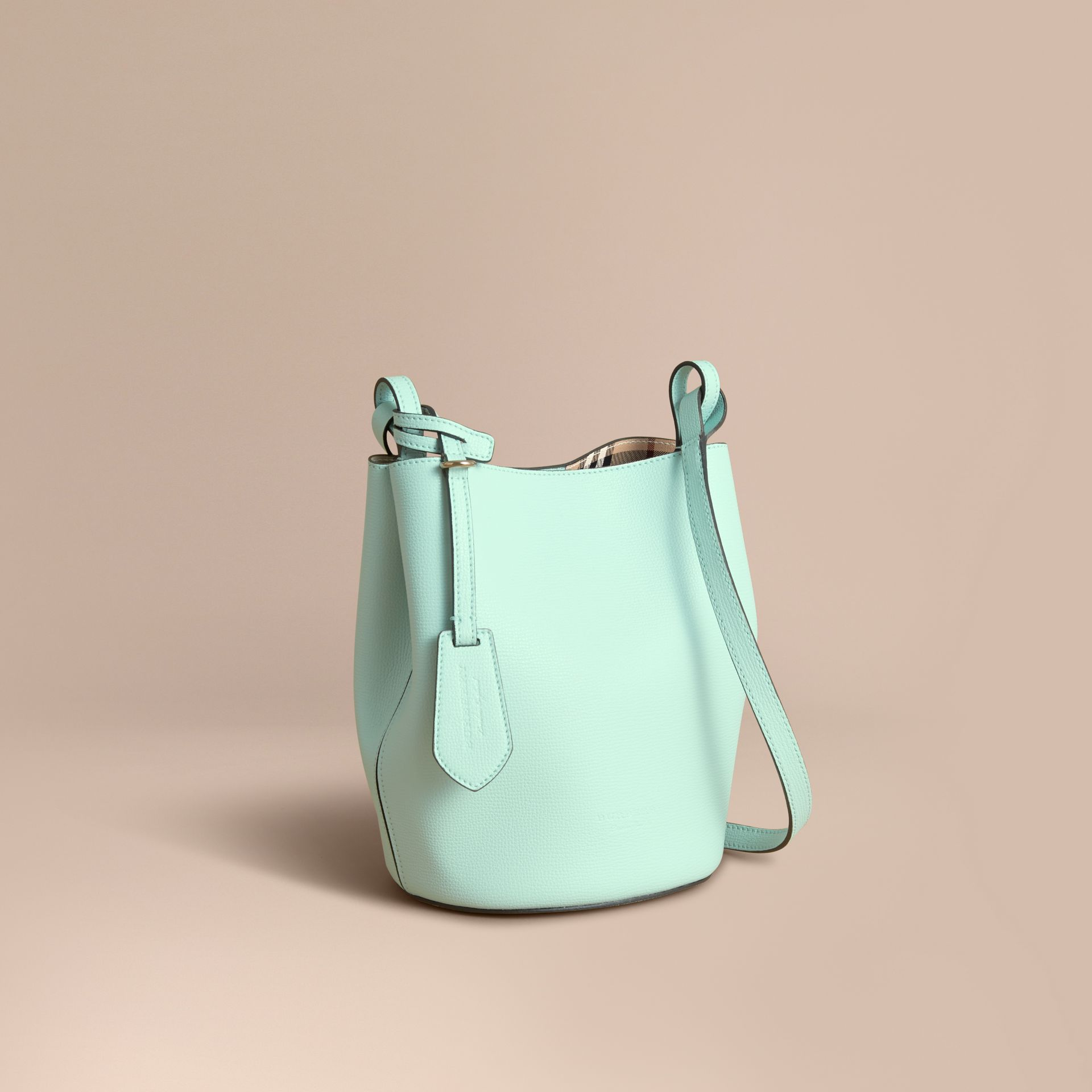 Leather and Haymarket Check Crossbody Bucket Bag in Pale Opal - Women | Burberry United States - gallery image 1