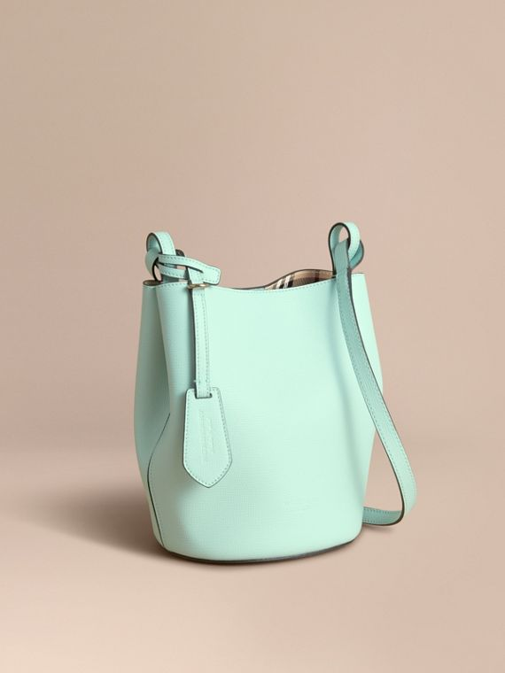 Leather and Haymarket Check Crossbody Bucket Bag in Pale Opal