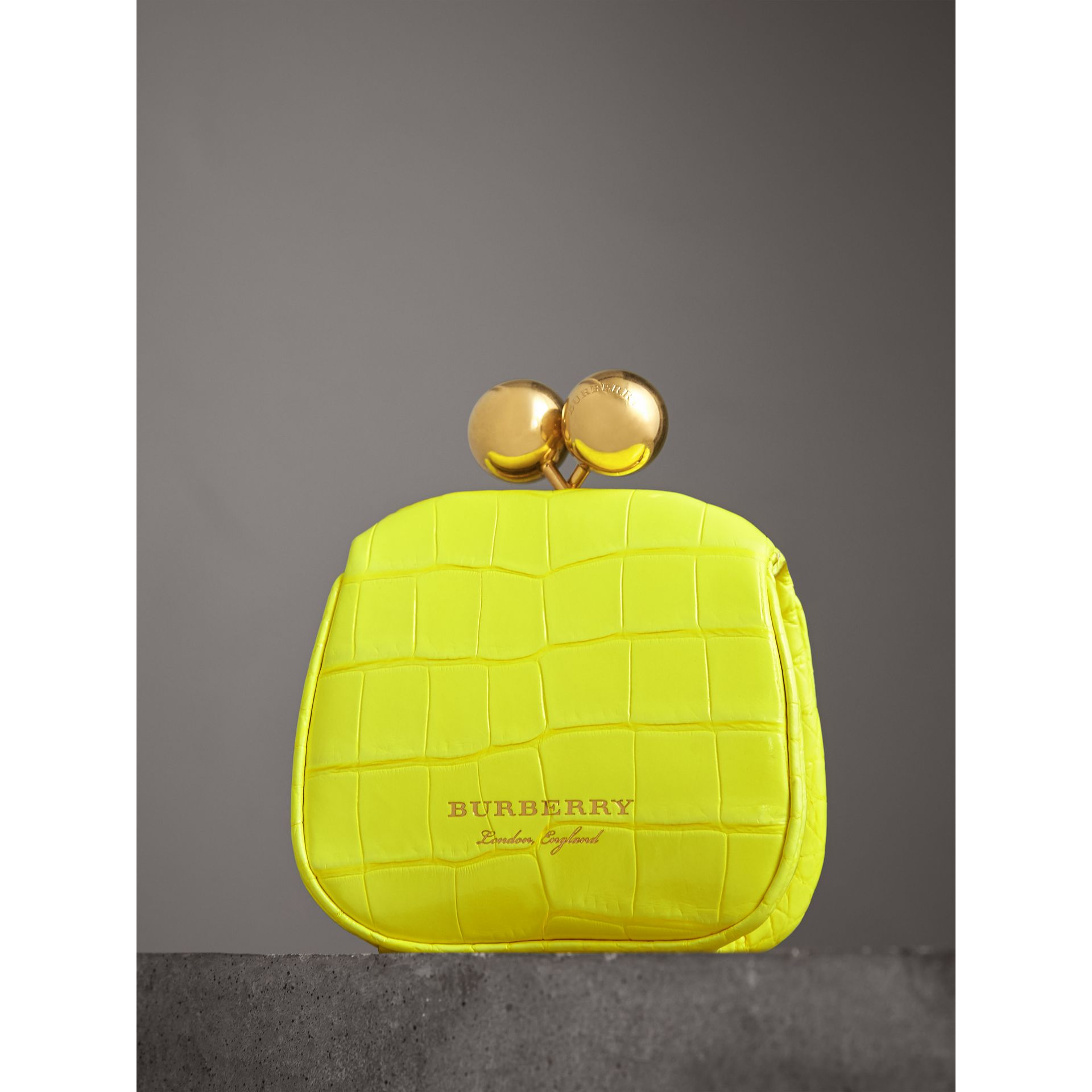 Mini Alligator Frame Bag in Neon Yellow - Women | Burberry - gallery image 4