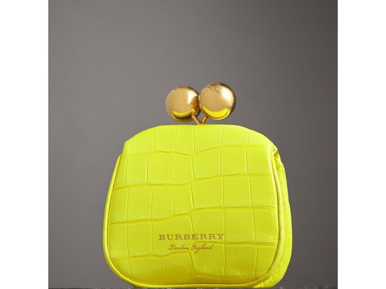 Mini Alligator Frame Bag in Neon Yellow - Women | Burberry - cell image 4