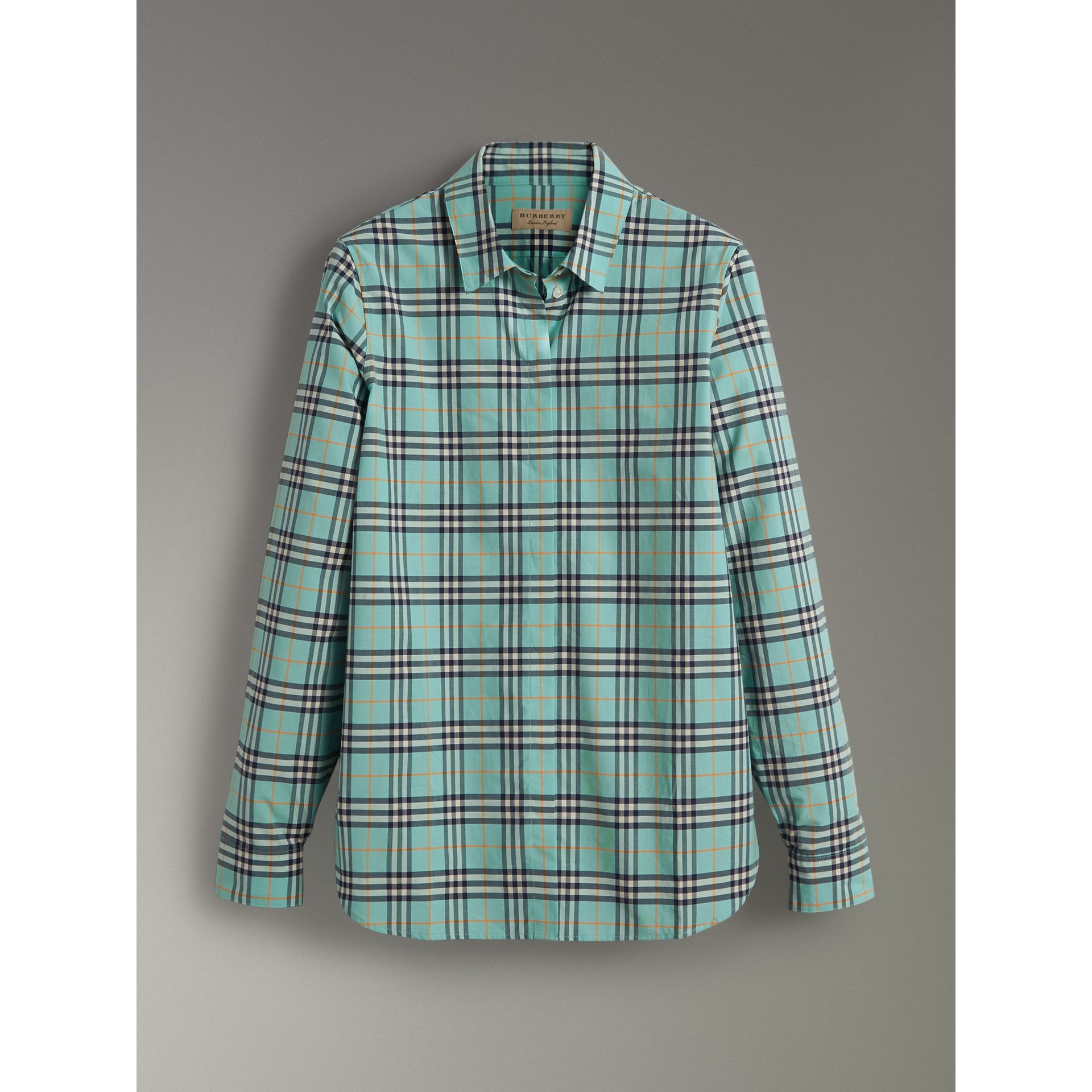Check Cotton Shirt in Bright Aqua - Women | Burberry - gallery image 3