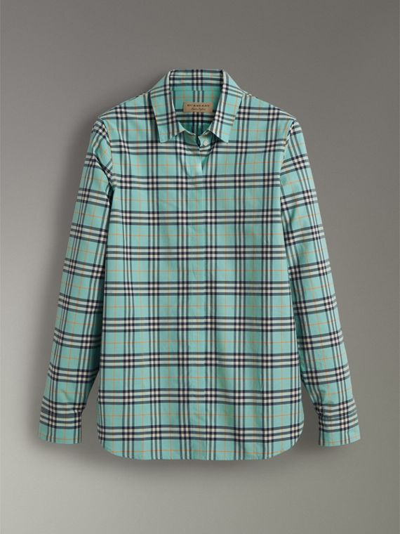Check Cotton Shirt in Bright Aqua - Women | Burberry - cell image 3