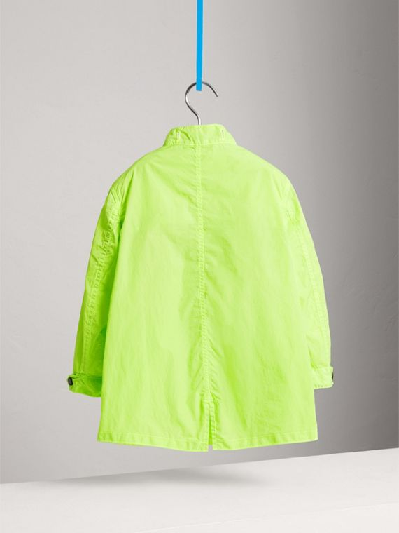 Detachable Hood Lightweight Parka Coat in Neon Yellow - Boy | Burberry - cell image 3