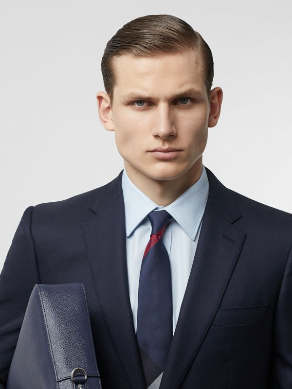 Modern Cut Oversized Check Silk Tie in Navy - Men | Burberry - cell image 2