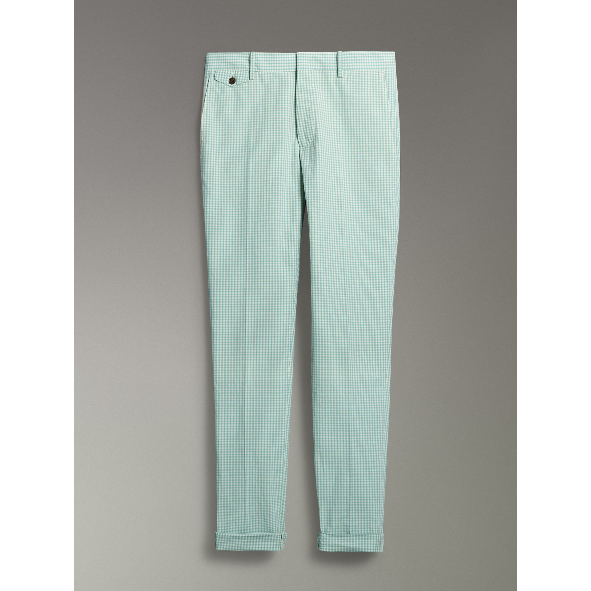 Gingham Cotton Tailored Trousers in Pale Opal - Men | Burberry Singapore - gallery image 3