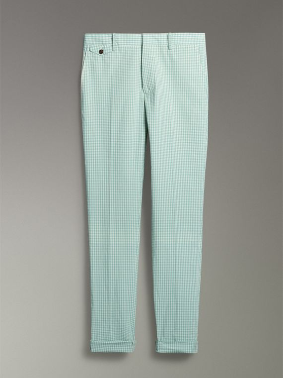 Gingham Cotton Tailored Trousers in Pale Opal - Men | Burberry - cell image 3