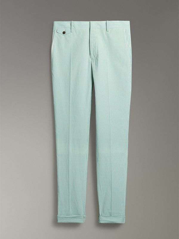 Gingham Cotton Tailored Trousers in Pale Opal - Men | Burberry Singapore - cell image 3