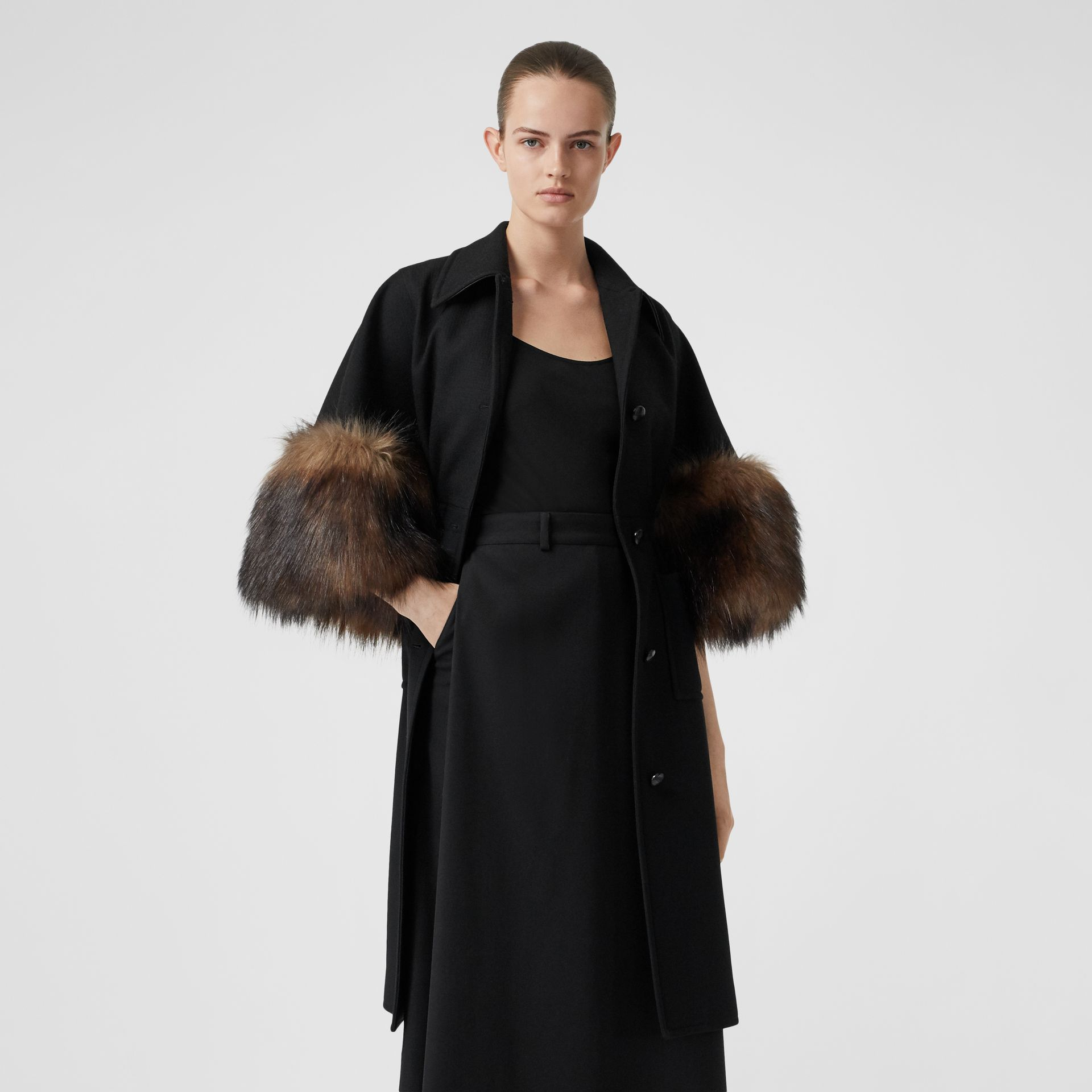 Faux Fur Trim Cape Detail Wool Blend Coat in Black - Women | Burberry - gallery image 5