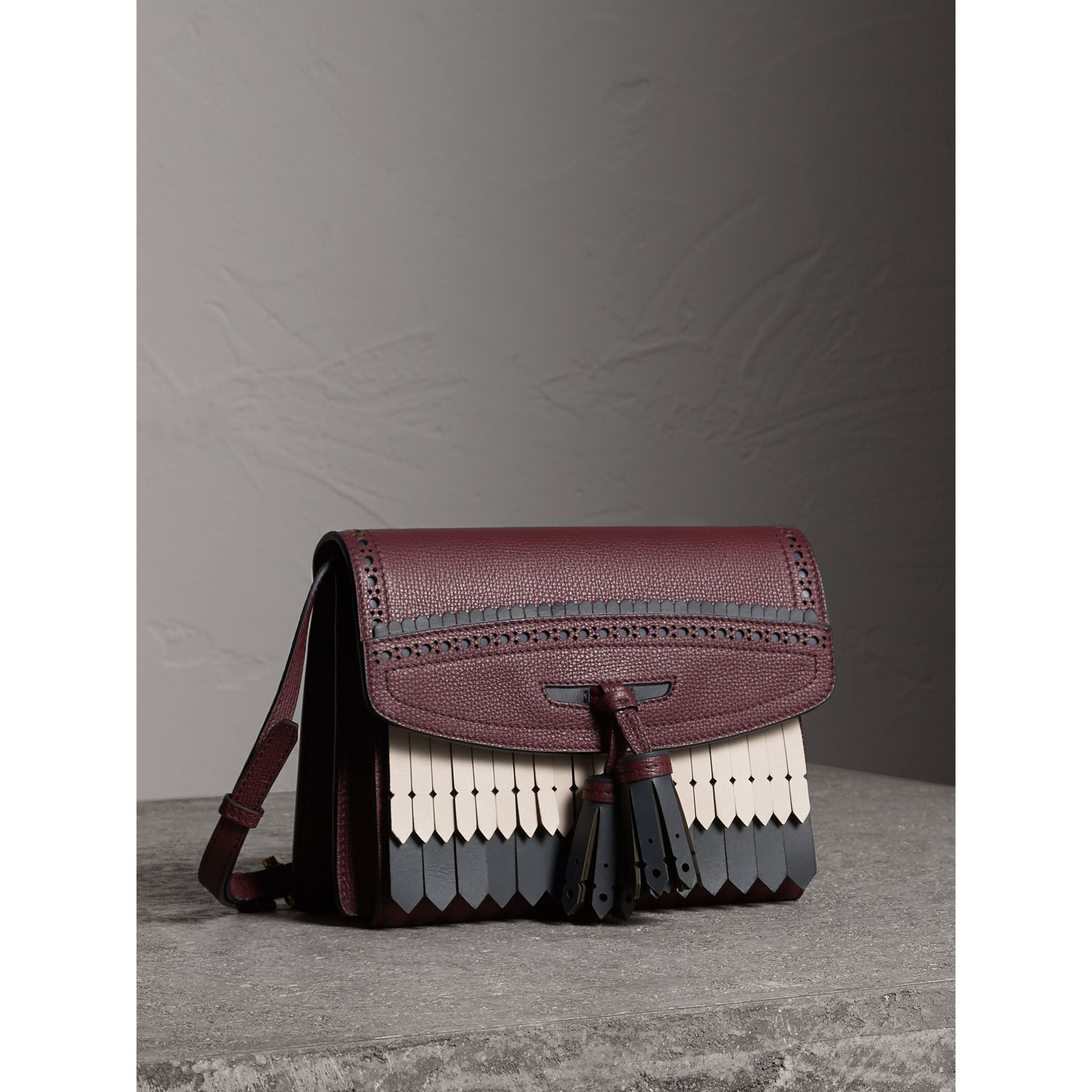 Brogue and Fringe Detail Leather Crossbody Bag in Mahogany Red - Women | Burberry Singapore - gallery image 5