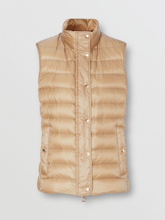 Monogram Print-lined Lightweight Puffer Gilet in Honey