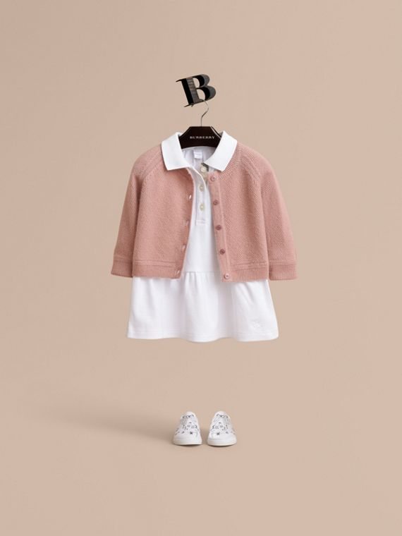Textured Knit Cashmere Cardigan in Dusty Pink | Burberry