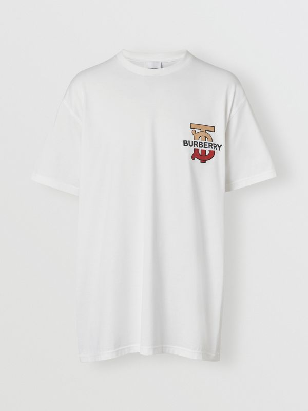 Monogram Motif Cotton T-shirt in White - Men | Burberry - cell image 3