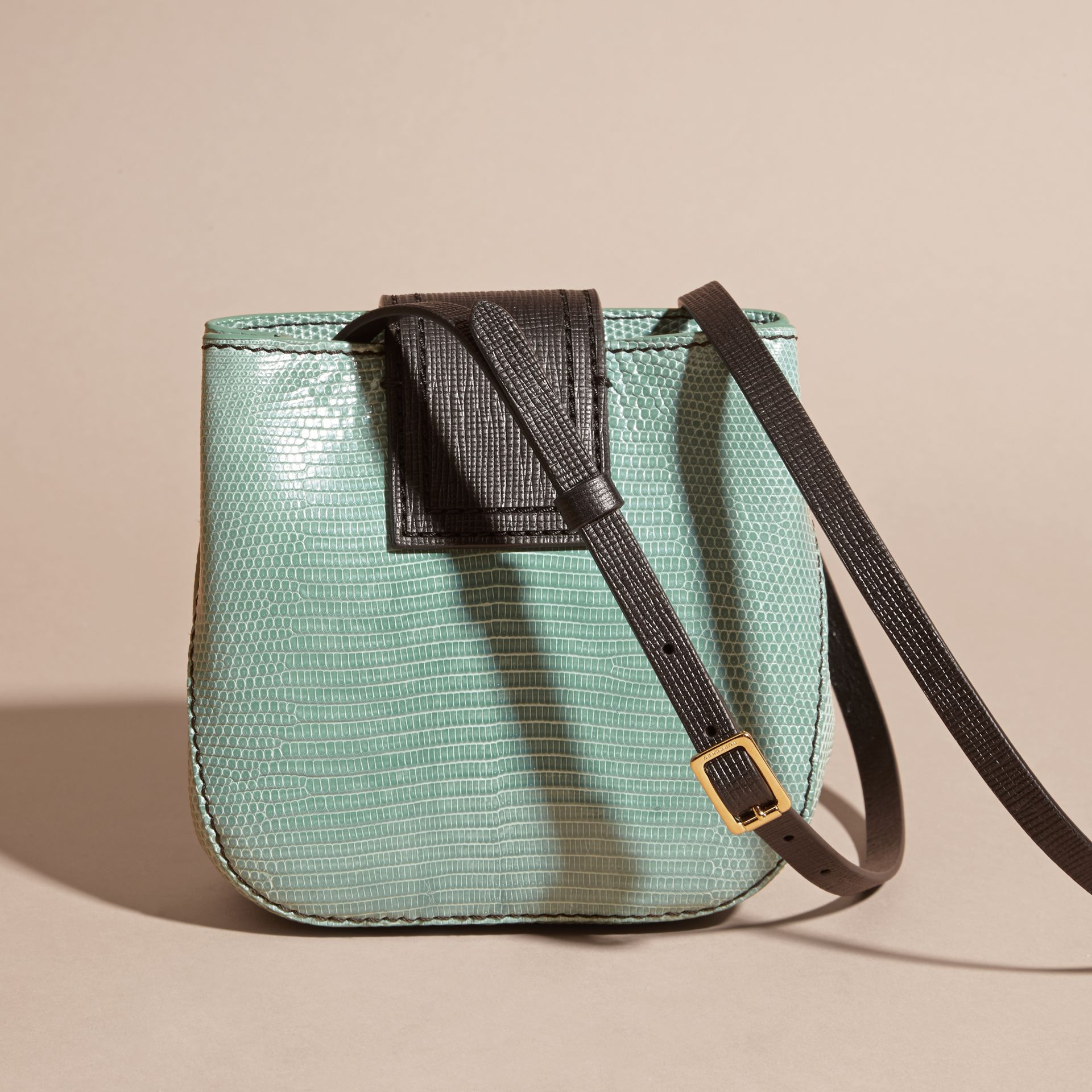 Dusty mint The Small Square Buckle Bag in Lizard - gallery image 3