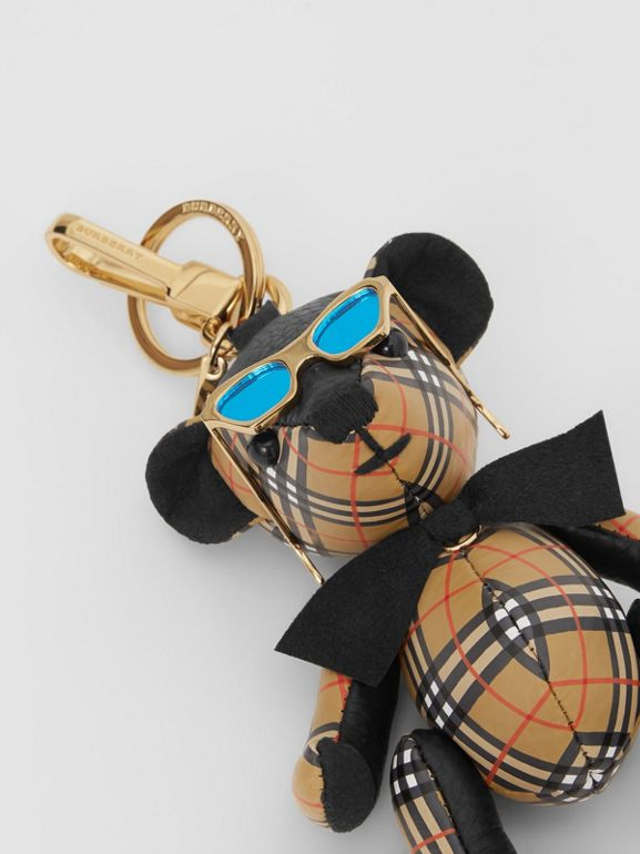 Thomas Bear Charm in Sunglasses in Black/antique Yellow | Burberry - cell image 1
